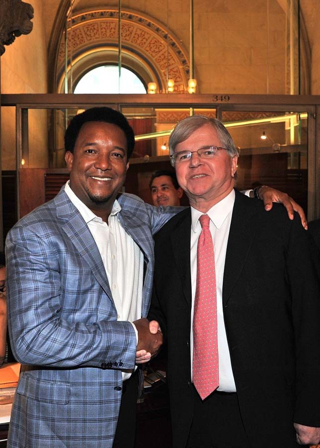 Assemblyman Fred W. Thiele, Jr. pictured in the Assembly Chamber in Albany with Pedro Martinez who was honored by the New York State Legislature on Thursday, February 26, 2015.  In conjunction with Do