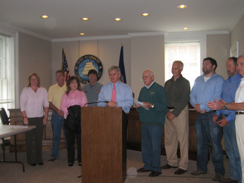Assemblyman Thiele is pictured with representatives of local Town Trustee Boards opposing the creation of a Recreational Marine Fishing License.