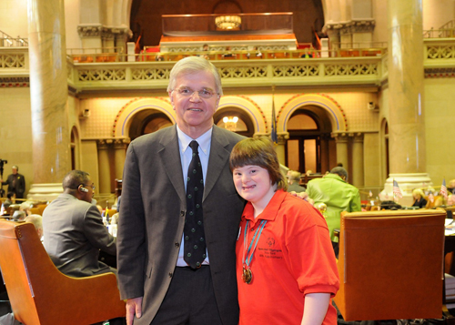 Assemblyman Thiele is pictured with Jody Coutinho, a Special Olympics floor hockey medalist from Hampton Bays, who visited Albany on March 17th to celebrate the 40th Anniversary of the Special Olympics in New York.