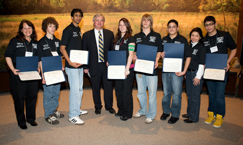 Assemblyman Thiele is pictured with students from William Floyd High School who participated in the Life Smarts program in Albany this year.