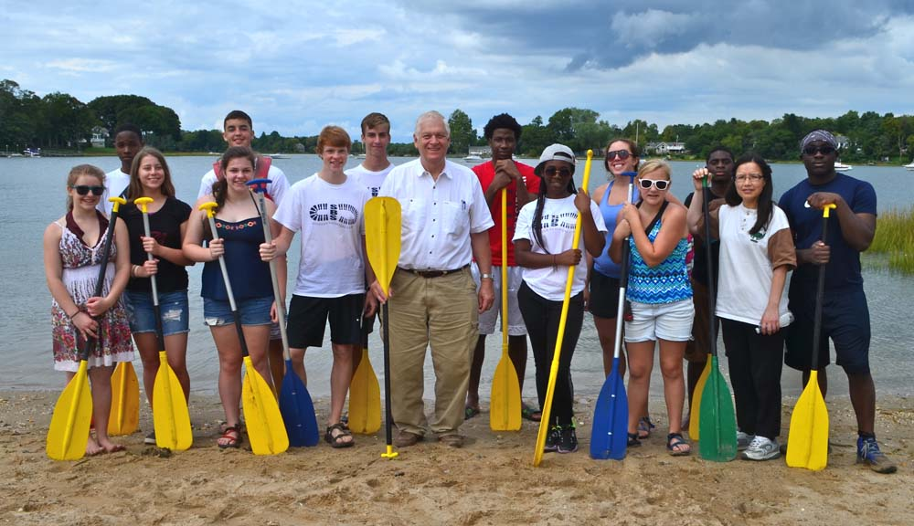 Assemblyman Steve Englebright with the Stony Brook School Outdoor Adventure Club at Setauket Harbor Day at the Brookhaven Town Beach on Setauket Harbor. September 12, 2015