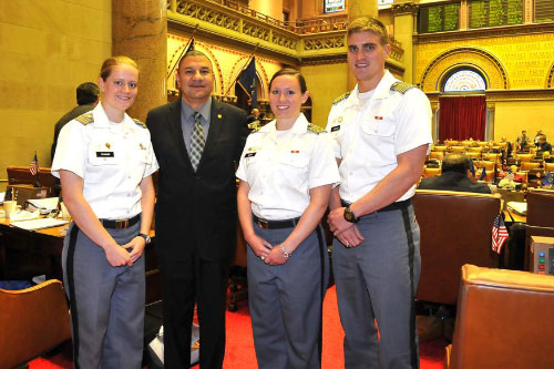 Assemblyman Ramos, Chairman of the Assembly�s Committee of Veterans� Affairs, honors military men and women from the United States Military Academy at West Point, as part of the New York State Assembly�s 61st annual West Point Day. Pictured left to right: Cadets Cory Trainor, Hannah Smith and Max Jenkins.