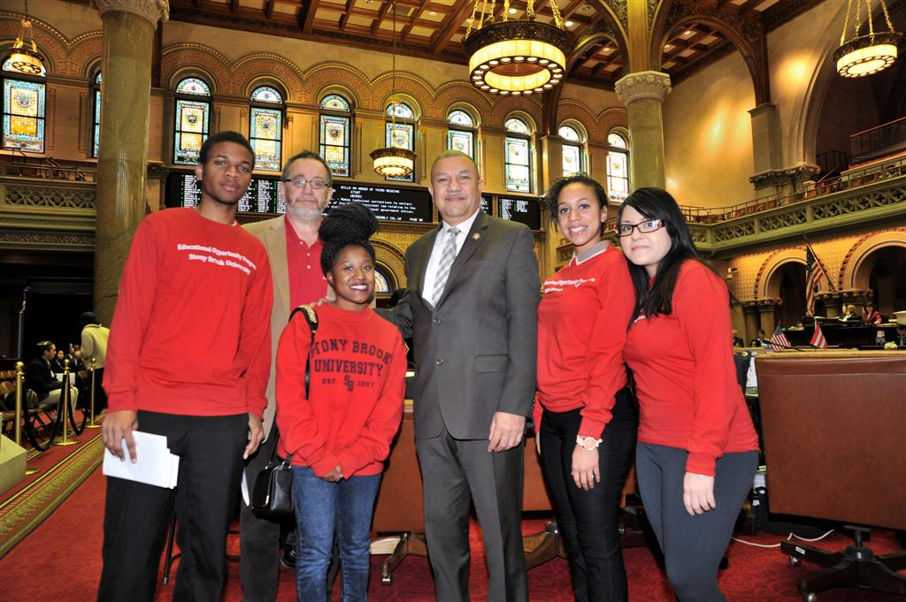 Stony Brook students visit Albany to lobby for additional funding for the Educational Opportunity Program (EOP).  Assemblyman Ramos voted in the Assembly budget for $22.3 million for EOP � an increase of $1.2 million over last year.
