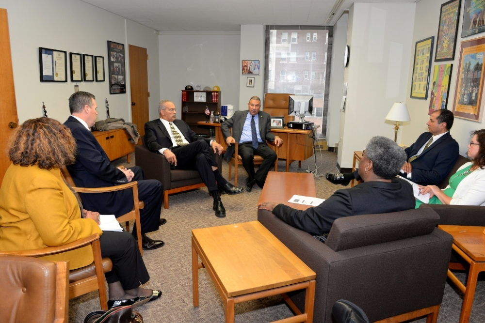 Assemblyman Ramos engages the members of the Brentwood Board of Education today in Albany as they met with influential leaders of the house, including Assemblyman Jeff Aubry, Speaker Pro Temp and Chairman of the Black, Puerto Rican/Hispanic & Asian Caucus and Assemblyman Marcos Crespo, Chairman of the Puerto Rican/Hispanic Task Force. They were given the opportunity to discuss the district's needs and priorities with senior staff of the Assembly. Assemblyman Ramos, will continue to advocate on behalf of the schools in his district as the Assembly continues its budget negotiations.
