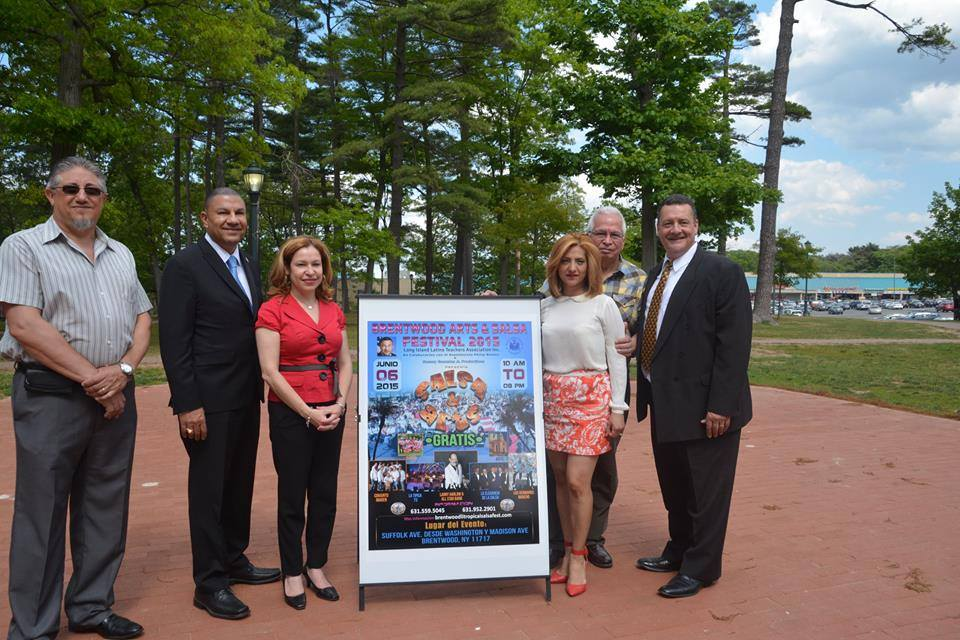 Ramos with members of LILTA, the Long Island Latino Teachers Association, announce the June 6th, Brentwood Arts and Salsa Festival 2015.