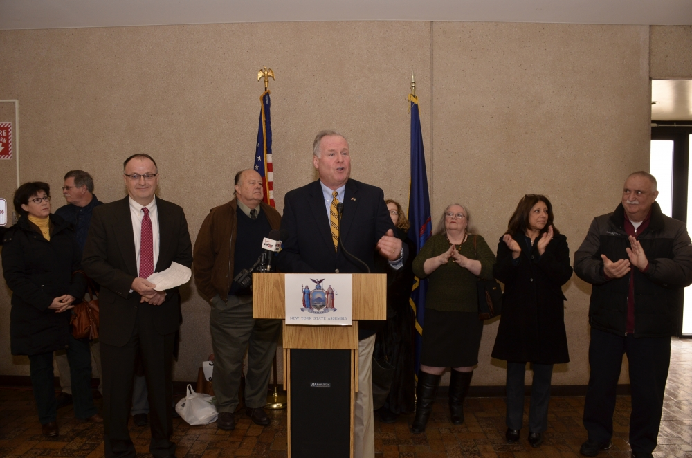 Assemblyman Michael Fitzpatrick speaks at a press conference in Hauppauge where he announced his bill to repeal video lottery gaming on Long Island.