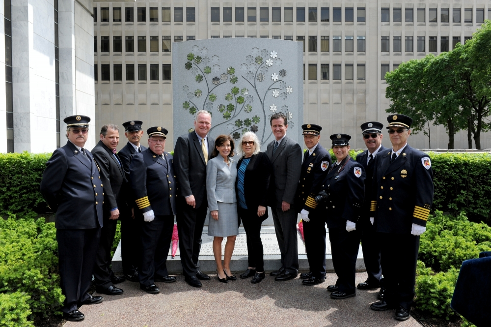 Assemblyman Mike Fitzpatrick (R,C,I-Smithtown), along with Lt. Gov. Kathy Hochul, Senate Majority Leader John Flanagan, and Assemblyman Andy Raia at the EMS Memorial Dedication at the Empire State Pla