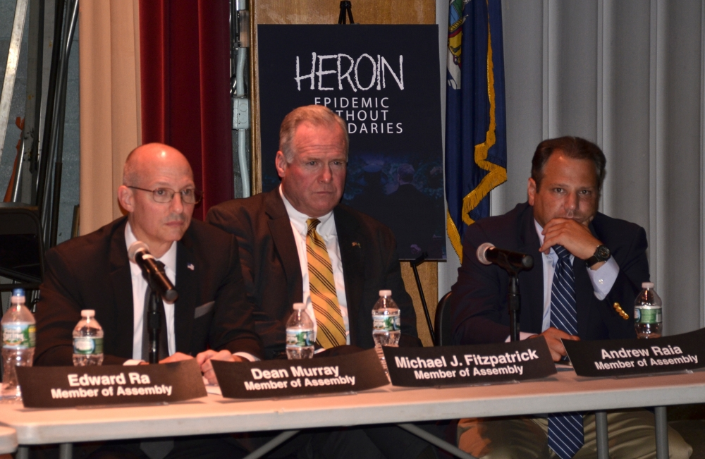 Assemblyman Michael Fitzpatrick (R,C,I-Smithtown) (center) with Assemblymen Dean Murray (R,C,I-Patchougue) (left) and Andrew Raia (R,I,C-Northport) (right) at the Long Island public meeting of the Assembly Minority Task Force on Heroin Addiction & Community Response held last year.