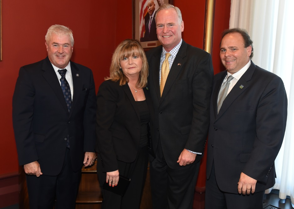 Left to right: Assembly Minority Leader Brian M. Kolb (R,C-Canandaigua), Kathy Albrecht, Assemblymen Michael Fitzpatrick (R,C,I-Smithtown) and Phil Palmesano (R,C,I-Corning)