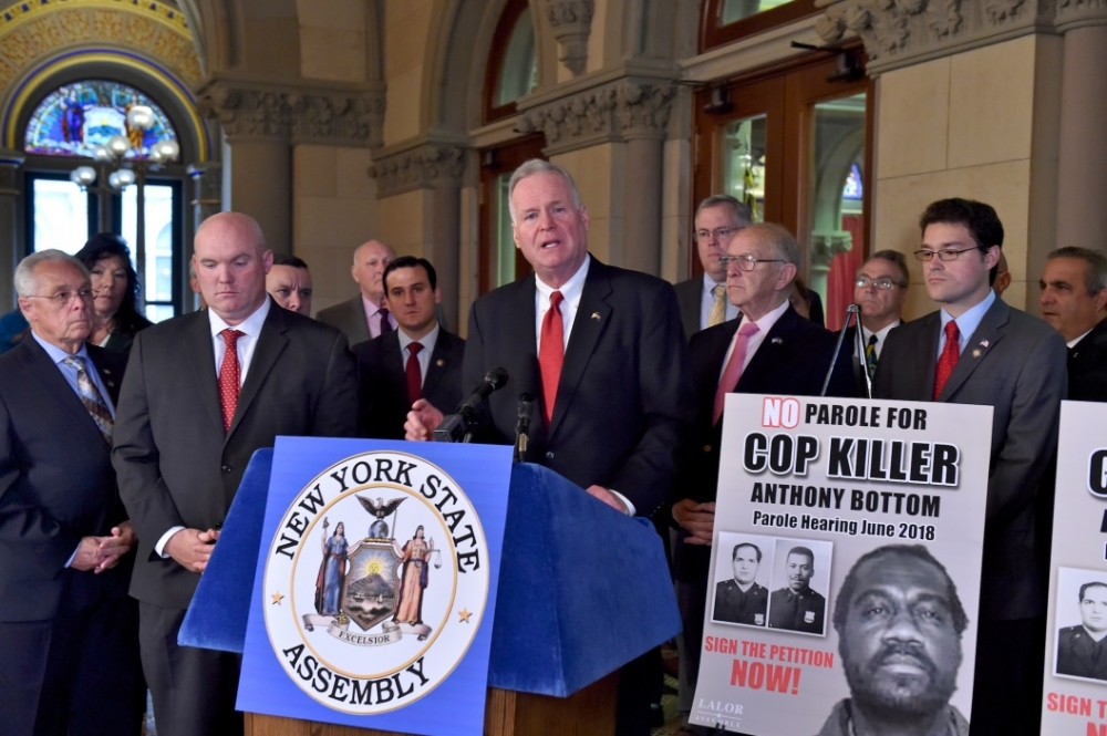 Assemblyman Michael Fitzpatrick (R,C,I,Ref-Smithtown) speaking at the press conference to oppose parole for Anthony Bottom who murdered NYPD Officers Piagentini and Jones.
