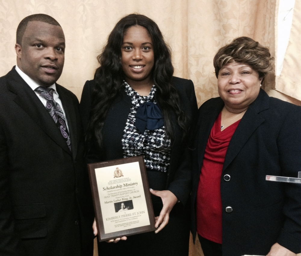 Assemblywoman Kimberly Jean-Pierre was one of four recipients to be awarded the Martin Luther King, Jr. Award by Pastor, Dr. Vernon Shelton, Sr. and Dr. Patricia McCarthy (left to right) from the Holy Trinity Baptist Church of Amityville.