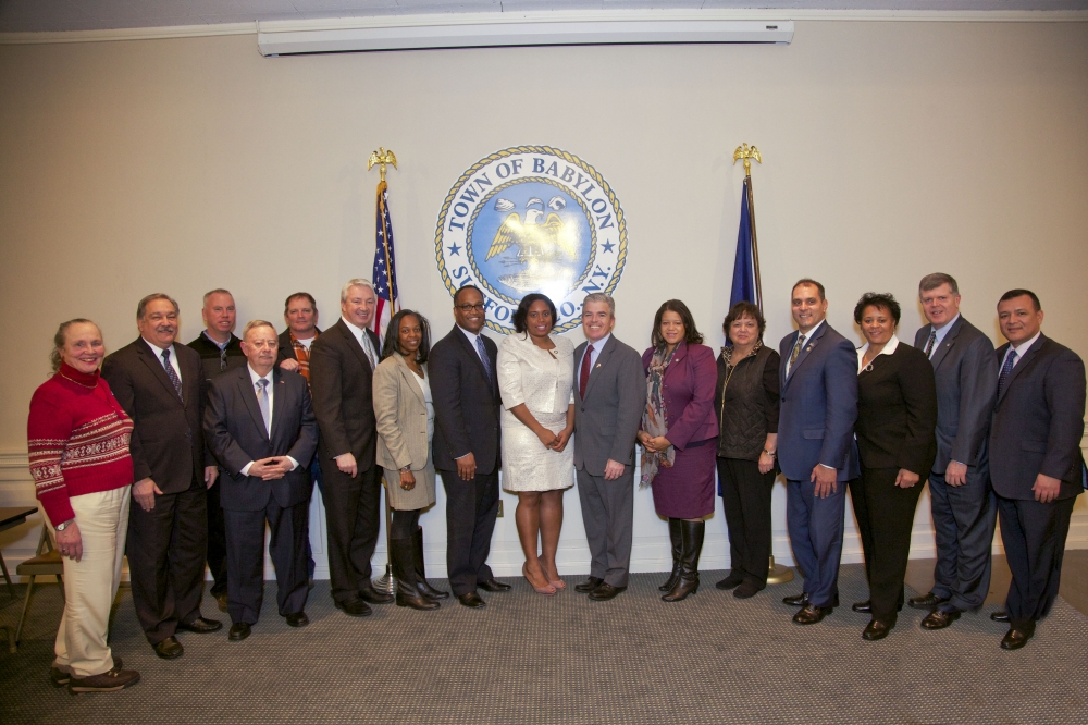 Assemblywoman Kimberly Jean-Pierre is joined by Presiding Officer DuWanye Gregory, Suffolk County Executive Steve Bellone, Assemblywoman Michaelle Solages, Town Supervisor Rich Schaffer and other elected officials on Long Island in celebration of Jean-Pierre�s inauguration.