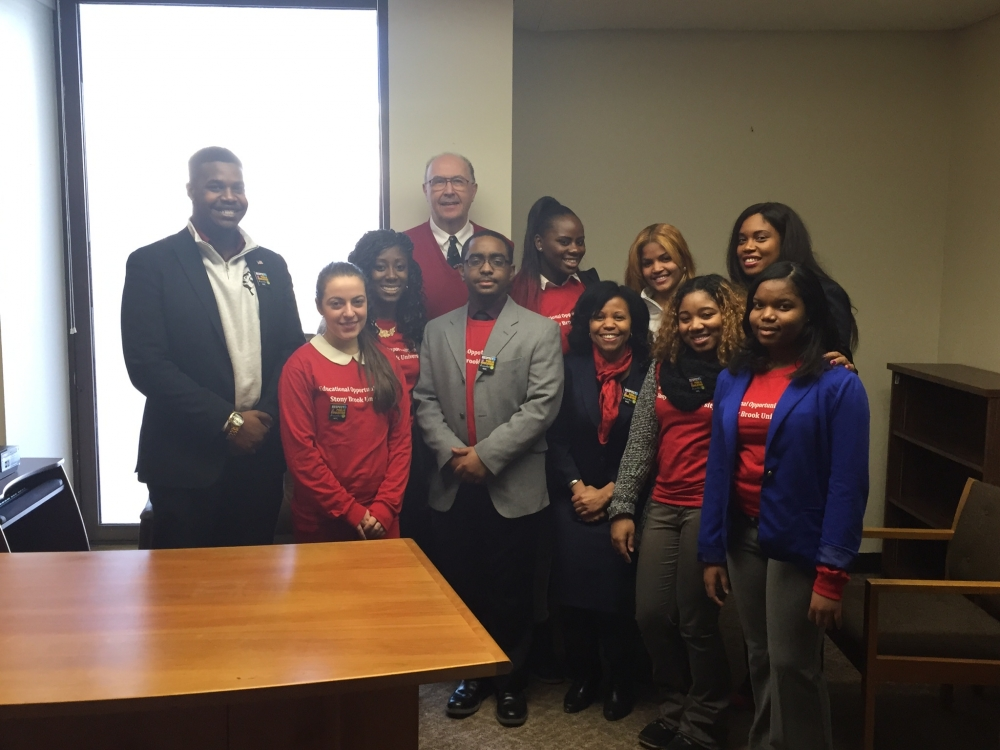 Assemblywoman Kimberly Jean-Pierre met with EOP students from Stony Brook University.
