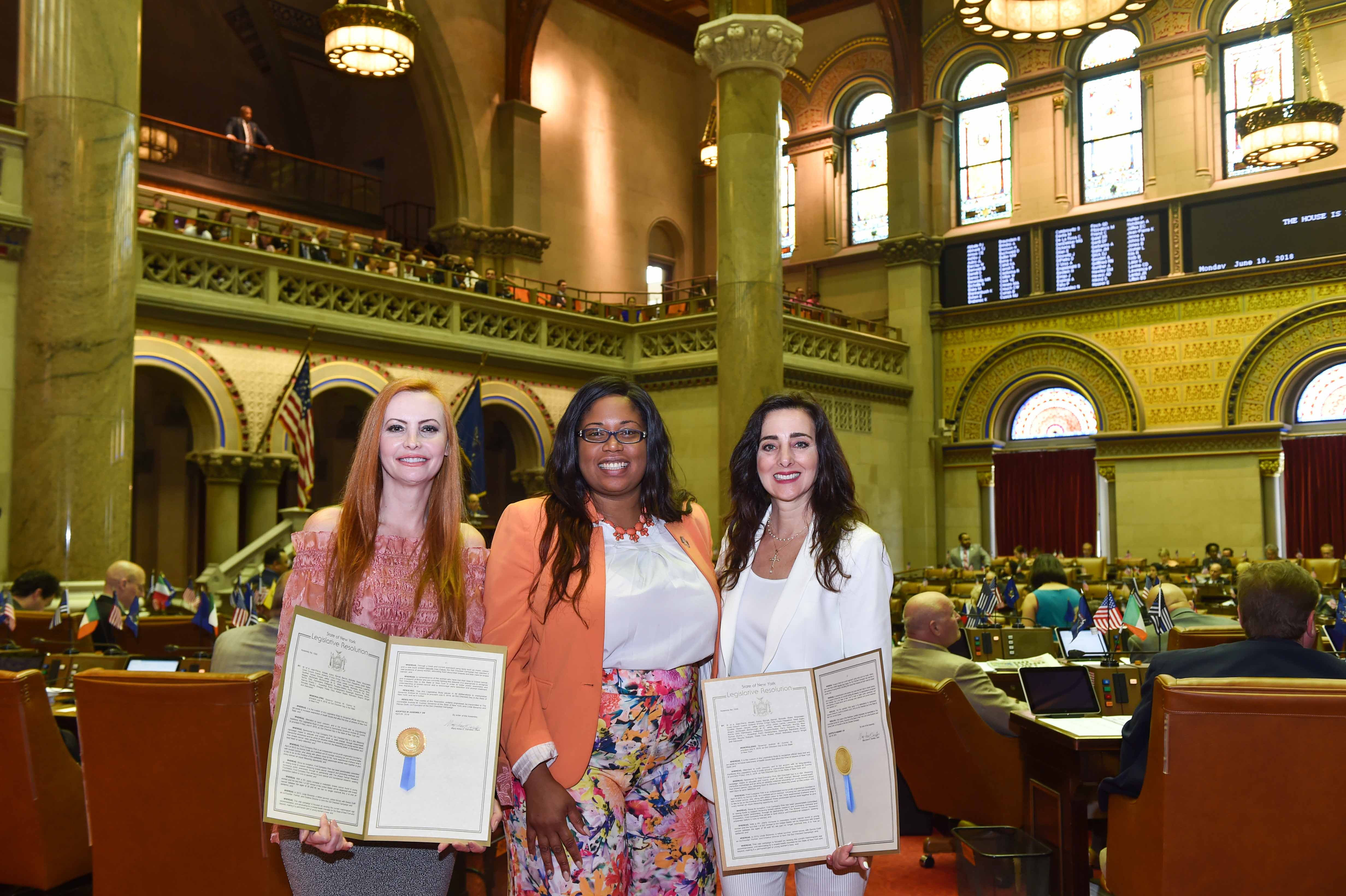 Assemblywoman Kimberly Jean-Pierre with Donna Cioffi and Linda Bonanno from First Company Pink, a non-profit organization dedicated to breast cancer education and prevention.