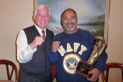 Assemblyman Charles Lavine congratulated Frank Pena, President/Director of the Glen Cove Boxing Club, on his recognition for longevity of service to amateur boxing.