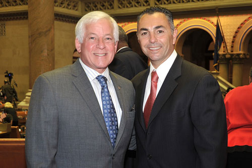 Assemblyman Charles Lavine (D � North Shore Long Island) and New York Mets star, left-handed pitcher John Franco at the State Capitol in Albany for the 50th Anniversary of the New York Mets. Lavine and Franco discussed hardball at Shea Stadium and in Albany.