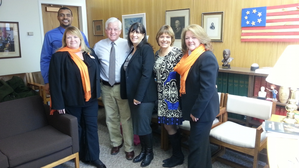 Assemblyman Charles Lavine (D-Glen Cove) welcomed members of the National Multiple Sclerosis Society Long Island Government Relations Committee at his Albany office to discuss legislation that will improve access to health care. On hand to discuss the issue were Rich Able, Robin D�Andrea, Karen Kolb, Leighanne Cade and Jane Reilly.