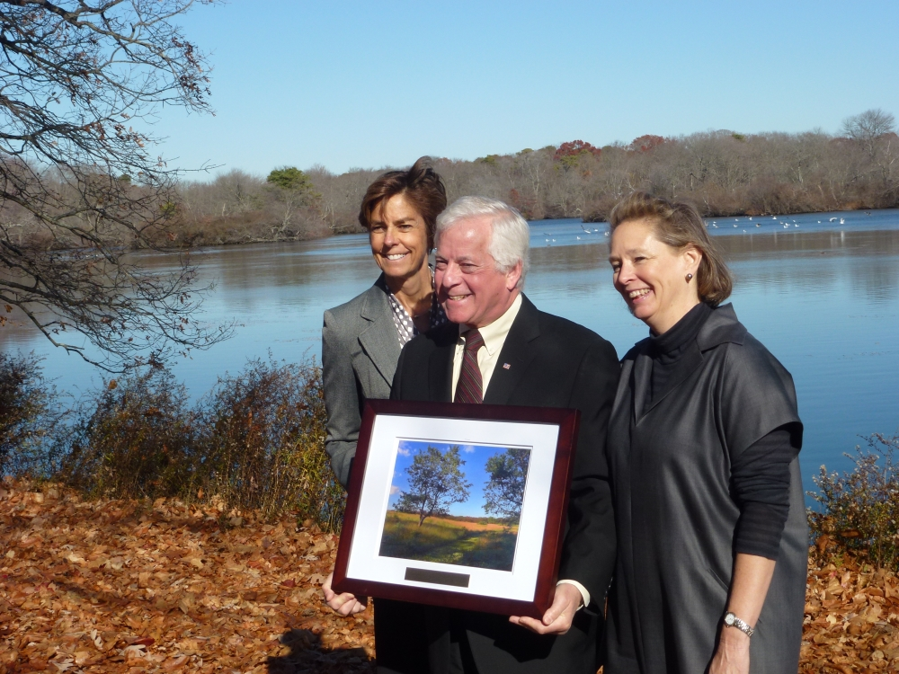 Assemblyman Charles Lavine (D-Glen Cove) joined Nancy Kelley, Executive Director of The Nature Conservancy on Long Island, left, and Lisa Ott, President of the North Shore Lane Alliance, to mark the 20th Anniversary of the Environmental Protection Fund, which has raised and millions of dollars to protect Long Island�s land, air and water. Assemblyman Lavine was recognized along with other elected officials, for his work on behalf of the environment. The press event was sponsored by the Friends of New York�s Environment, a coalition of conservation, recreation, environmental education, agricultural and community organizations at state parks headquarters at Belmont Lake State Park.
