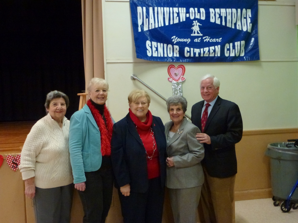 Assemblyman Charles Lavine, right, celebrated the New Year with members of the Plainview-Old Bethpage Senior Club at the Jamaica Avenue School in Plainview during a breakfast held recently. Assemblyman Lavine, who joined Nassau County Legislator Judy Jacobs, center, commended P-OB Senior Citizen Club staff, from left, Rosemarie Mandler, Vice President, Carol Kokol, President, and Rachel Staiano, Director on their good work and wished all those on hand a healthy New Year and a Happy Valentine�s Day.