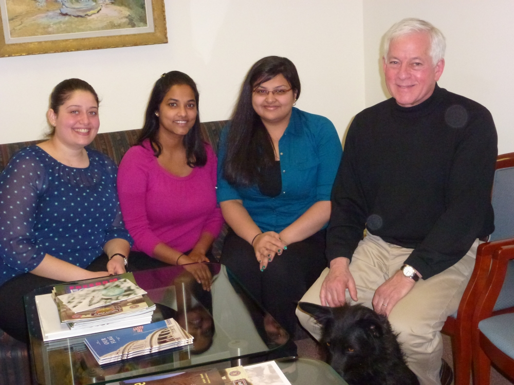 Assemblyman Charles Lavine, right, met with Marie Yacoub, Nita Mohanan and Mona Tamakuwala, students from the New York Institute of Technology, at his Glen Cove district office to discuss their assignment. The students, who are enrolled in the occupational therapy program at NYIT, were required to meet with a local legislator and advocate on the importance of occupational therapy. The course work focuses on teach administration, advocacy and legislation.