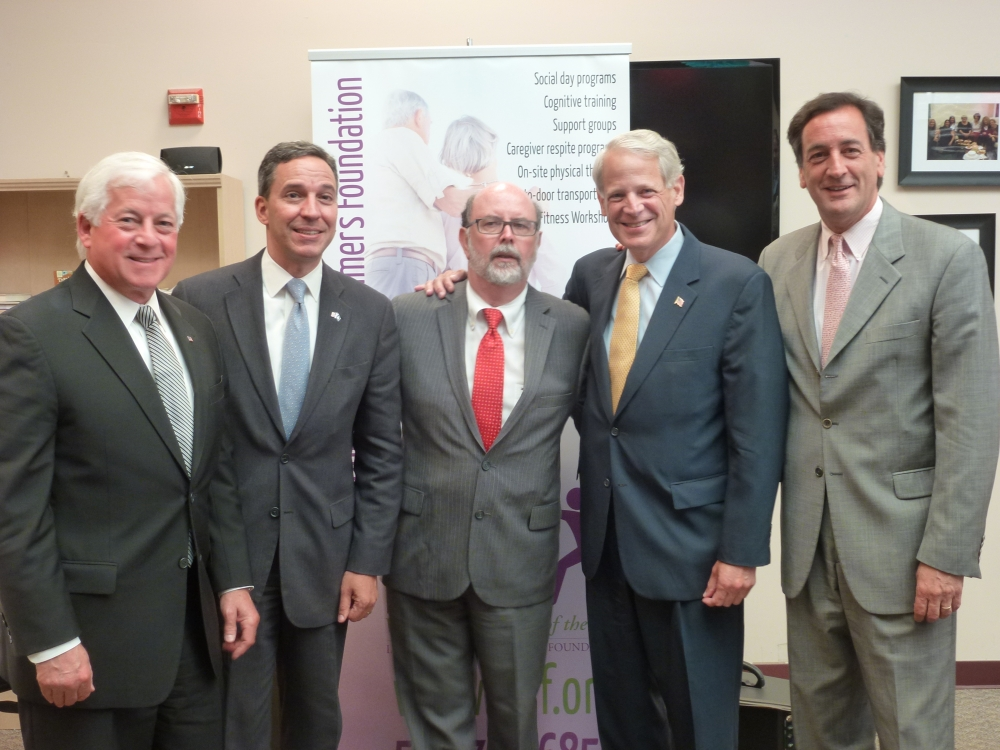 Assemblyman Charles Lavine (D-Glen Cove) left, joined Congressman Steve Israel, second from right, at an Alzheimer�s Forum at the headquarters for the Long Island Alzheimer�s Association in Port Washington. The forum featured physicians who specialize in Alzheimer�s and Alzheimer�s related disease, and advocates and caregivers for those with Alzheimer�s disease. Former New York Senator Charles Fuschillo, right, who is now the CEO of the Alzheimer�s Foundation, Long Island Alzheimer�s Foundation Executive Director Fred Jenny, center and state Senator Jack Martins all participated in the forum.