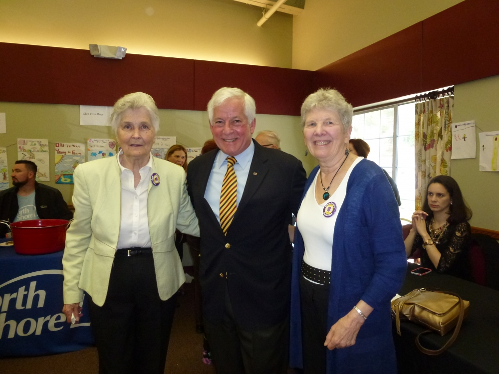Assemblyman Charles Lavine, center, was presented with the Bob Howard Award during Glen Cove�s 8th Annual Senior Recognition Day at the Glen Cove Senior Center on May 10.  Bob Howard, who passed away in 2012, was responsible for initiating Senior Day in 2006 and was deeply committed to his community. The award is presented for community-minded individuals who go above and beyond to contribute their efforts. Carol Waldman, Executive Director of the Senior Center, presented Assemblyman Lavine with the award. Janina Jania was honored as Volunteer of the Year, left, and Carolyn Willson, right, was presented with the Lifetime Achievement Award.