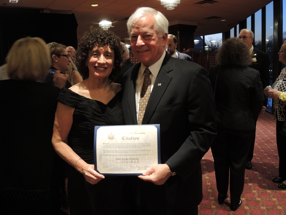 Assemblyman Charles Lavine, left, presents Ellen Kessler Dubinsky, a Mathematics teacher at Nassau BOCES Barry Tech and The Doshi STEM Program with a citation during the 2014 Nassau BOCES Education Partner Awards dinner at the Crest Hollow Country Club in Woodbury. The event recognizes the �Most Influential People for Public Education in Nassau County� annually. Categories include Education Partners, Nassau BOCES Employees, Organizations, School Board Members, Students and Teachers. Recipients were chosen for the honor from among dozens of nominees by a committee of distinguished educators and community leaders who identified individuals and organizations who personified the spirit of educational partnerships and had a measurable impact on public education in Nassau County.