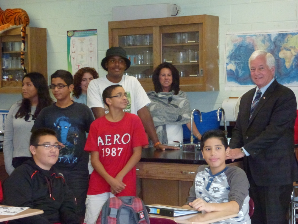 Assemblyman Charles Lavine, right, joined Glen Cove School District Superintendent of Schools Maria Rianna, rear right, science teacher Mrs. Graziosi, rear center, and students in one of the science labs at the high school which is being replaced thanks to a $250,000 state grant secured by Assemblyman Lavine. The lab has not been updated in 52 years.
