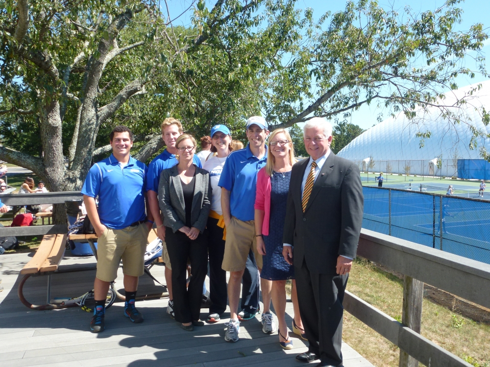 "Assemblyman Charles Lavine (D-Glen Cove) right, paid a visit to Hofstra University to meet with athletic trainers and students who are supporting Assemblyman Lavine�s legislation � Bill <a href=""/leg/?bn=A06678&term=2013"" target=""blank"">A06678</a> which  expands the definition of Athletic Trainer, establishes licensure, and creates a continuing education requirement for licensed Athletic Trainers. The Assemblyman toured facilities including physical therapy rooms to discuss the impact of the legislation with, from left, Jordan DeBettencourt, undergraduate athletic training student, Ian Leary, undergraduate athletic training student, Dr. Jayne Ellinger, Athletic Training Education Program Director, Dr. Katie Sell, Exercise Science Program Director, Andrew Wetstein, Associate Athletic Trainer and Kristin LoNigro, Athletic Training Education Clinical Education Coordinator."