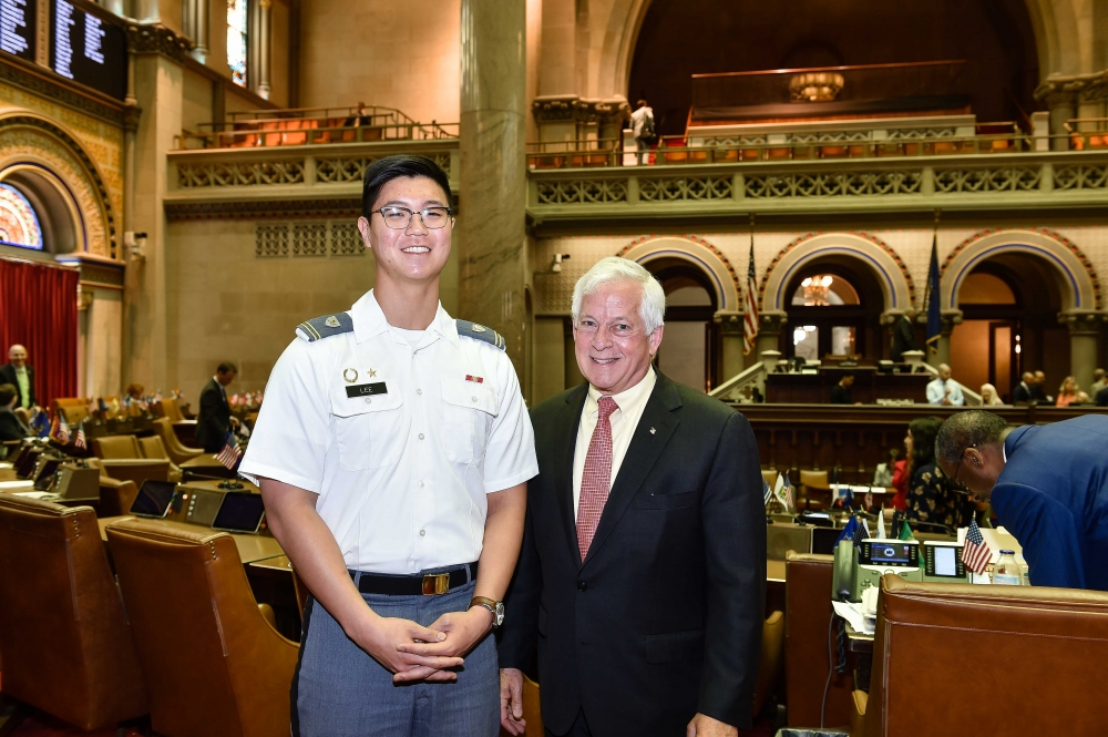 Pictured are Cadet Jungmin Lee, USMA and Assemblyman Charles Lavine.