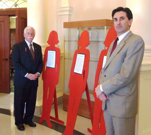 To recognize October as Domestic Violence Awareness Month, Assemblyman Charles D. Lavine joined Nassau County Legislator Wayne Wink at a somber memorial ceremony for victims of domestic violence held at the Nassau County Theodore Roosevelt Legislative and Executive Building. The event featured life-sized cutouts to represent murdered women; each cutout included the victim�s story. Assemblyman Lavine said, �I commend the Nassau County Coalition Against Domestic Violence and the Nassau County Family Violence Task Force both for sponsoring this event and for their continued work in empowering victims of domestic and sexual assault and in changing the social systems that tolerate and perpetuate such abuse.�