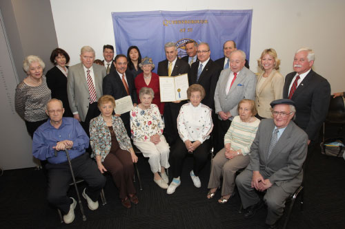 Recently, Assemblyman Charles Lavine visited the Harriet & Kenneth Kupferberg Holocaust Resource Center at Queensborough Community College to present a proclamation from the National Association of Jewish Legislators of New York in commemoration of the Holocaust. Dr. Arthur Flug, the center�s executive director, was pleased to accept the proclamation in the presence of a number of Holocaust survivors. Also in attendance were Dr. Eduardo Marti, president of Queensborough Community College, friends and public officials.