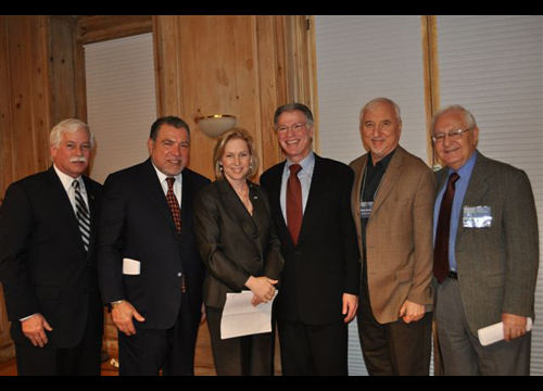 Assemblyman Charles Lavine was pleased to accompany U.S. Senator Kirsten Gillibrand on a tour of the Holocaust Memorial and Tolerance Center of Nassau County while the senator was visiting Glen Cove on Sunday, Feb. 28. On hand to welcome the elected officials were members of the board of the Center as well as staff, volunteers, friends, family and Holocaust survivors. Pictured at the Center are Assemblyman Lavine; Stanley Sanders, vice chairman; Senator Gillibrand; Howard Maier, chairman; Steven Markowitz, vice chairman; and David Gewirtzman, board member and Holocaust survivor.