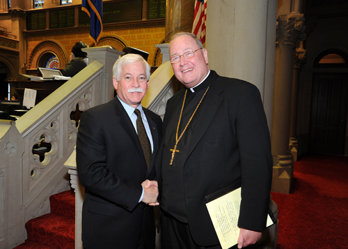 Assemblyman Lavine was honored to meet with Archbishop Timothy Dolan, Roman Catholic Archbishop of New York, when the archbishop visited Albany for New York State Catholic Conference Public Policy Day on Monday, March 8. Assemblyman Lavine said, �I greatly enjoyed the opportunity to speak with Archbishop Dolan and look forward to our next meeting.� The assemblyman and archbishop are pictured in the State Assembly chambers in Albany.