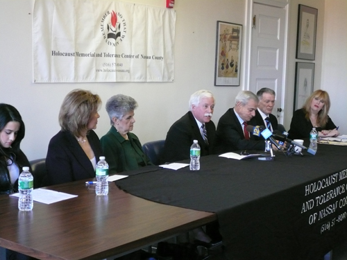 Assemblyman Charles Lavine was proud to sit on a panel for the reopening of the Holocaust Memorial and Tolerance Center of Nassau County on Jan. 21. The assemblyman was joined by Carly Haft, 14, the granddaughter of a Holocaust survivor; Erica Witover, the daughter of Holocaust survivors; Gloria Glantz, a Holocaust survivor; former Nassau County Executive Thomas Gulotta; and Howard Maier, chairman of the board, Holocaust Memorial and Tolerance Center. Panel members discussed their personal connection to the Center and the Center�s noble mission.