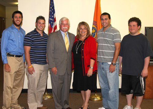 Assemblyman Charles Lavine was pleased to bring his summer interns to the Aug. 10 session of the Nassau County Legislature, where they were warmly welcomed by Presiding Officer Diane Yatauro. The interns stayed for the legislative session to witness government at work. Pictured are interns David Schreiber (Glen Head) and Ben Rose (Plainview); Assemblyman Charles Lavine; Presiding Officer Diane Yatauro; and interns Alex Romano (Sea Cliff) and Marc Rosen (Glen Cove).