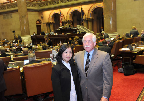 Assemblyman Lavine is pictured with Nicole Chun, a Jericho High School student and participant in the League of Women Voters� �Students Inside Albany� program.