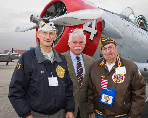 Assemblyman Charles Lavine was proud to join veterans, families, friends and other Americans in honoring survivors of the Pearl Harbor attack during ceremonies held at the American Airpower Museum at Republic Airport to mark the 68th anniversary of Pearl Harbor Day. He is pictured with William Halleran (l) and Gerard Barbosa. Assemblyman Lavine said, �The decades have not tarnished the valor, courage and sacrifice of those who served at Pearl Harbor that morning. They fought back with tenacity and bravery and provided our nation with an extraordinary lesson about the cost of defending democracy.�