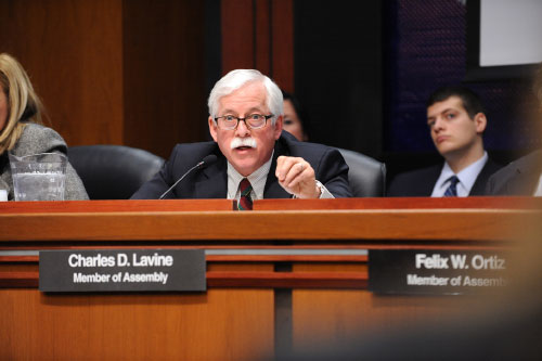 Assemblyman Lavine is pictured questioning a witness at a recent hearing held jointly by the New York State Assembly Committee on Mental Health, the Committee on Alcoholism and Drug Abuse, and the Committee on Veterans� Affairs. The purpose of the hearing was to examine the services offered to New York State veterans who have been diagnosed with co-occurring substance abuse and mental health disorders to assure that these vets and their families are receiving all available resources to which they are entitled in the most effective and efficient manner.