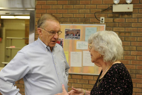 Assemblyman McDonough stops by the Wantagh Senior Center to chat with community residents.