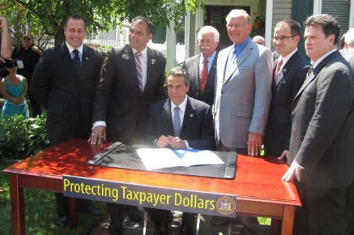 Assemblyman McDonough joins Governor Cuomo and Long Island lawmakers for the signing of the historic property tax cap.