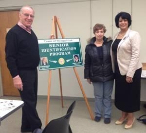 Assemblyman Dave McDonough and Town of Hempstead Clerk Nasrin Ahmad welcome a constituent to the Senior Identification Program.