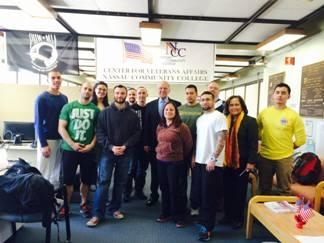 Assemblyman Dave McDonough meets with student-veterans from Nassau County Community College.