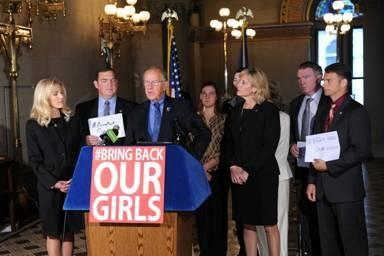 Assemblyman Dave McDonough joins colleagues to urge passage of legislation to end human trafficking.