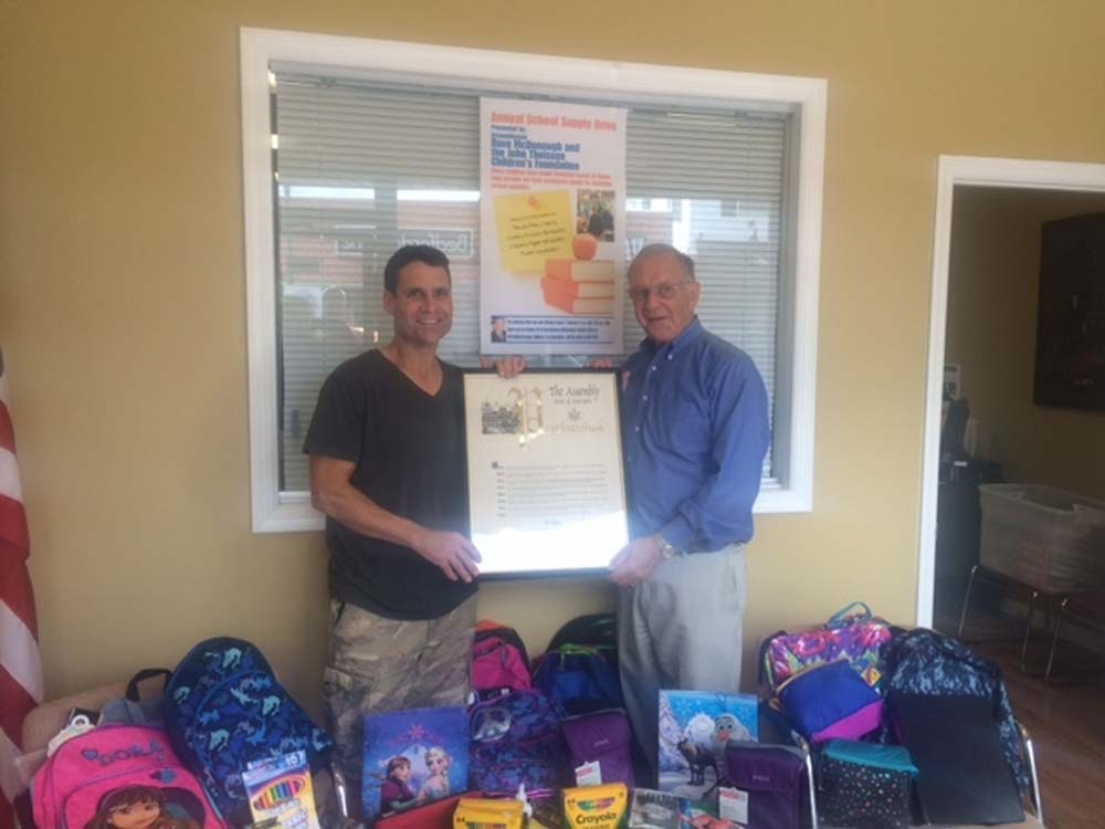 In conjunction with delivering a large amount of school supplies to John Theissen of the John Theissen Children�s Foundation of Wantagh, I was privileged to present a New York State Assembly Proclamation honoring him for being named the <strong>Wantagh Herald Citizen</strong> �Man of the Year� for his efforts on behalf of sick and underprivileged children.