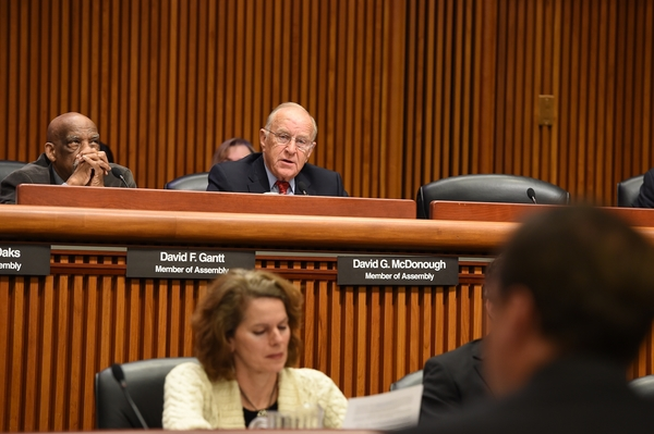 Assemblyman Dave McDonough (R,C,I-Merrick) (center) at the 2016 Joint Legislative Budget Hearing on Transportation where he raised concerns directly to Transportation Commissioner Matthew Driscoll over stretches of the Southern State Parkway in Nassau County. McDonough called for the Department of Transportation to address a section of the highway notoriously dubbed �Blood Alley,� due to its dangerous curves and frequent accidents.