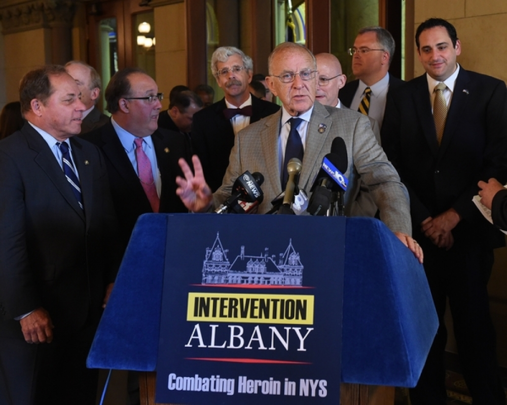 Assemblyman Dave McDonough (R,C,I-Merrick) [at podium] joined legislators and members of the public at a press conference in Albany Wednesday calling for legislation to address the heroin epidemic
