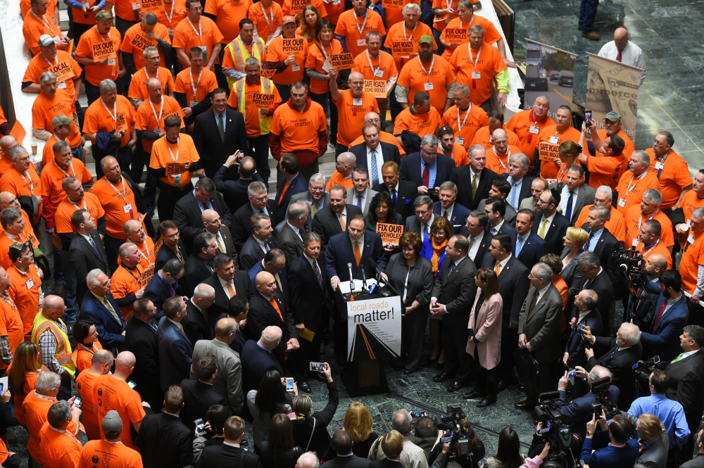 A group of legislators and construction crews from across the state joined together to call for increased CHIPS and PAVE-NY funding at a rally in Albany Wednesday.<br />&nbsp;