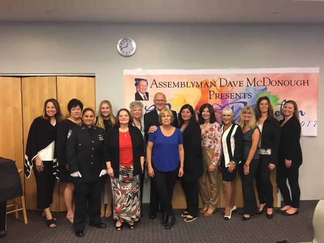 [From left to right] Sara Vasilakos of Wantagh, Theresa Ruescher of North Bellmore, Doreen Moran of Merrick, Heather Berberich of Merrick, Berta Weinstein of Merrick, Michelina Saracino of Merrick, Assemblyman Dave McDonough (R,C,I-Merrick), Virginia Ott of Wantagh, Dawn Cirino-Sambade of North Merrick, Nancy Evans of Levittown, C.J. Marie of North Bellmore, Dominique Tirino of Merrick, Dr. Jamie Rockwin of Merrick and Rachel Roslow of Merrick.<br />&nbsp;