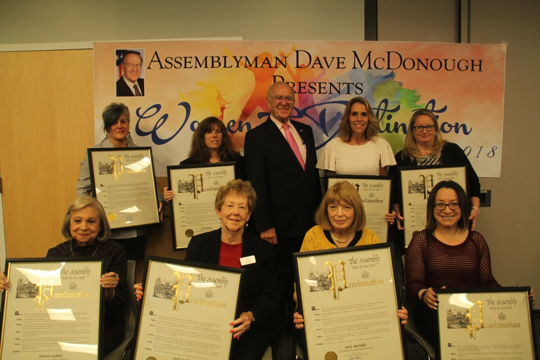 [From left to right back row]: Danielle Branciforti, Jill Bromberge, Assemblyman Dave McDonough, Heidi Felix and Donna Irving. [Left to right front row]: Adrienne Garfinkel, Carol O'Neill, Mary A